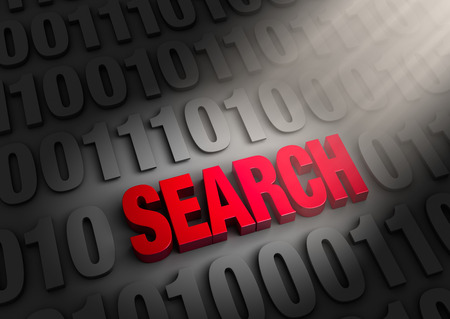 search query: A spotlight illuminates a red  SEARCH  embedded in a dark background of  1 s and  0 s  Stock Photo
