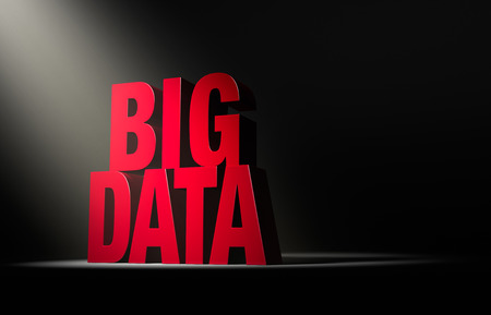 reveals: A single, angled spotlight reveals a red  BIG DATA  on a dark background  Stock Photo