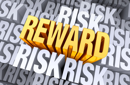 rewards: A bright, gold  REWARD  rises above a background filled with  RISK   Stock Photo