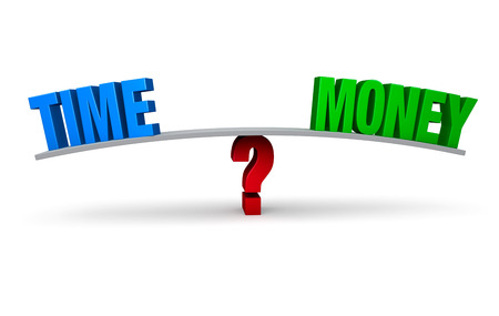balance beam: A bright, blue  TIME  and a green  MONEY  sit on opposite ends of a gray board which is balanced on a red question mark  Isolated on white