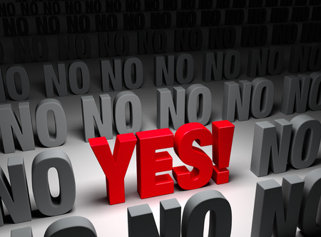 yes or no: A large, red  YES  stands out in a dark field of  NO s   Stock Photo