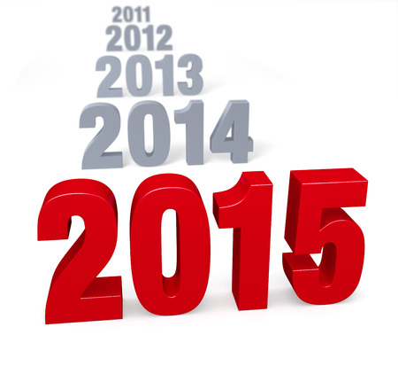 preceding: Preceding years in gray lead up to a large, shiny red  2015    Focus is on 2015  Isolated on white