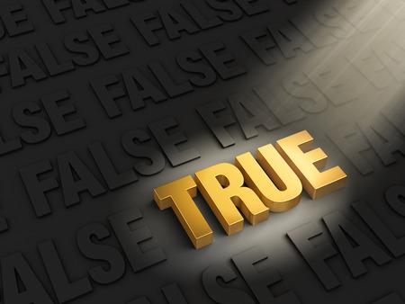 true false: A bright spotlight illuminates a golden  TRUE  on a dark background of gray  FALSE