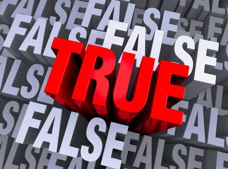 instances: Un audace, rosso VERO emerge da uno sfondo 3d muto fatto di pi� istanze della parola FALSE