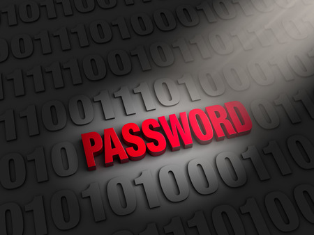 compromised: A spotlight illuminates bold, red  PASSWORD  on a dark background of computer code  Stock Photo