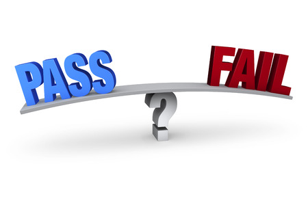 A bright, blue  PASS  and a red  FAIL  sit on opposite ends of a gray board which is balanced on a light gray question mark.  Isolated on white  스톡 콘텐츠