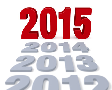 preceding: Preceding years in gray lead to a large, shiny red  2015    Focus is on 2015  Isolated on white   Stock Photo