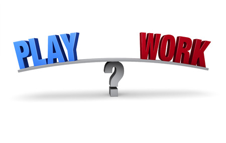 unwind: A bright blue  PLAY  and a red  WORK  sit on opposite ends of a gray board which is balanced on a gray question mark  Isolated on white  Stock Photo