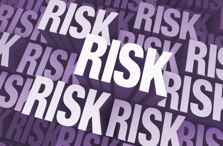 Background filled with the word  RISK  at various heights