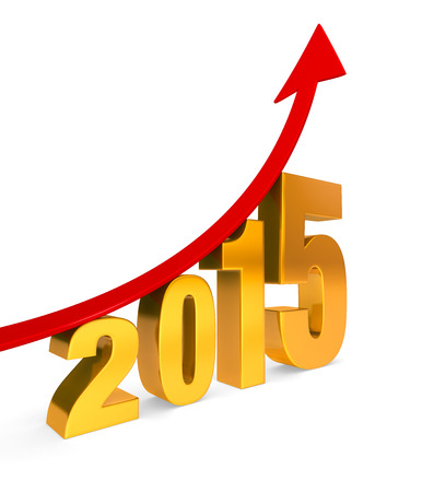 upturn: A dramatically upward trending red arrow climbs above a golden  2015   Isolated on white with shadow