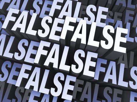 Een blauw grijze achtergrond gevuld met het woord VALSE vele malen herhaald een verschillende diepten Stockfoto