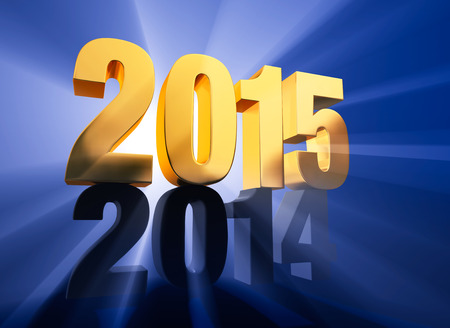 두 년을 통해 빛나는 광선 깊고 푸른 배경에 어두운 회색 2014 꼭대기 훌륭하게 백라이트, 금 2015 년 강제 관점 렌더링 스톡 콘텐츠 - 29835713
