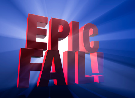 epic: Viewed at a dramatic angle, a bold, red  EPIC FAIL   stands on a dark blue background brilliantly backlit with light rays shining through  Stock Photo