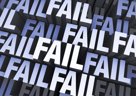reject: A blue gray background filled with the word  FAIL  repeated many times a different depths