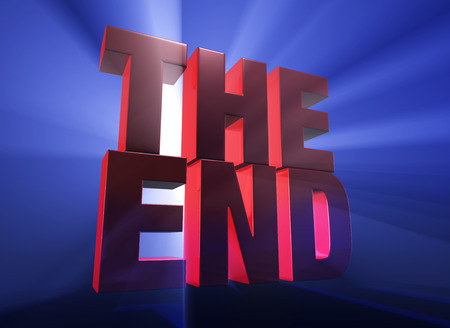 Viewed at a dramatic angle, a bold, red  THE END  stands on a dark blue background brilliantly backlit with light rays shining through