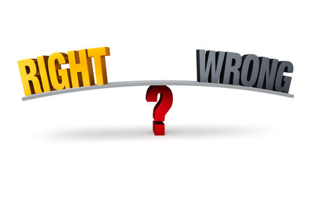 right vs wrong: Bright, gold  RIGHT  and dull gray  WRONG  sit on opposite ends of a gray board which is balanced on a red question mark  Isolated on white  Stock Photo