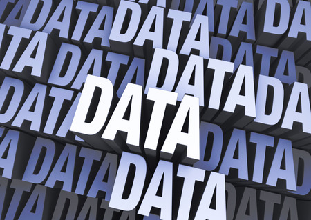 repeated: A 3D blue gray background filled with the word  DATA  repeated many times a different depths  Stock Photo