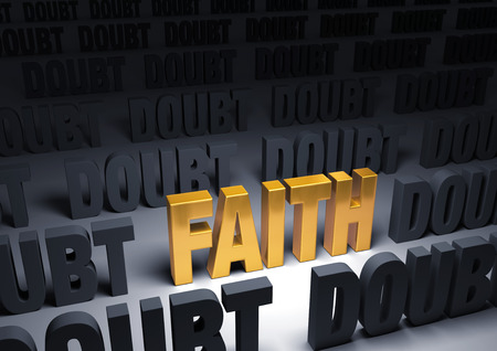 A shining, gold  FAITH  stands out in a dark field of gray  DOUBT  Stock Photo