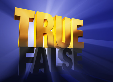 deceit: A shiny, gold  TRUE  sits atop a dark gray  FALSE  on a deep blue background brilliantly back lit with light rays shining through both words  Stock Photo
