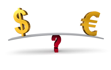 buying questions: Bright, gold US Dollar and Euro signs sit on opposite ends of a gray board which is balanced on a red question mark  Isolated on white