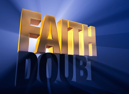 A shiny, gold  FAITH  sits atop a dark gray  DOUBT  on a deep blue background brilliantly back lit with light rays shining through both words  Stock Photo