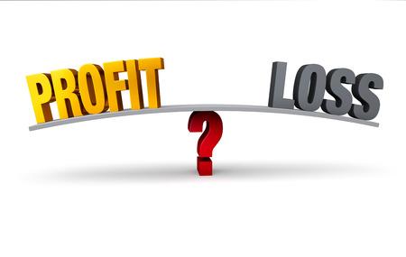 利益と損失が白地に赤い疑問符免震にバランスが取れてグレー ボードの反対側に座っている灰色、暗い明るい、金