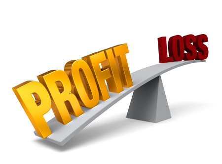 profit and loss: Bright, gold  PROFIT  weighs one end of a gray balance beam down while a gray  LOSS  sits high in the air on the other end  Isolated on white  Stock Photo