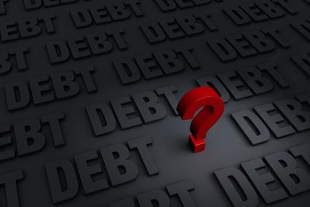 indebtedness: A red     stands out in a dark background of gray  DEBT  receding into the distance