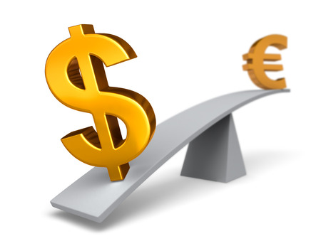 see saw: Bright, gold     weighs one end of a gray balance beam down while a Euro symbol sits high in the air on the other end  Focus is on the dollar sign  Isolated on white  Stock Photo