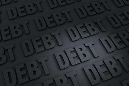insolvency: A dark background of gray  DEBT  receding into the distance