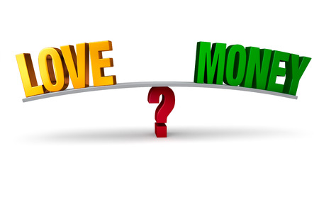 A bright, gold LOVE and a green MONEY sit on opposite ends of a gray board which is balanced on a red question mark. Isolated on white. photo