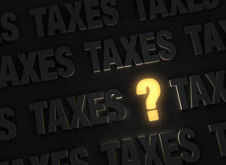 irs: A bright, glowing yellow question mark stands out in a dark field of gray TAXES.