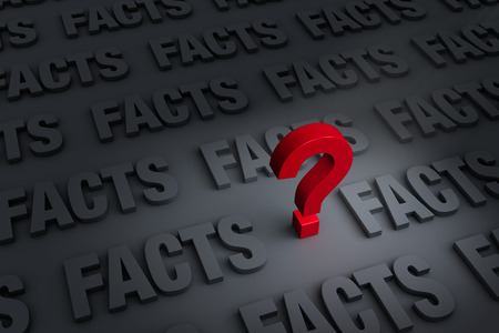 A red ? stands out in a dark background of gray FACTS receding into the distance Stock Photo