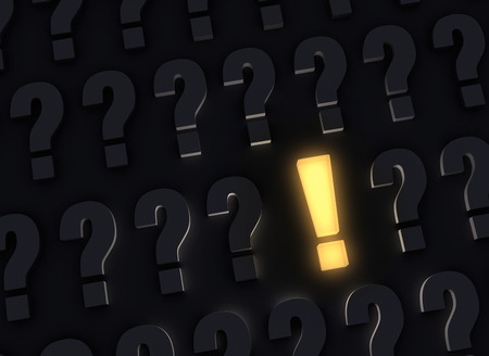 A bright, glowing yellow exclamation mark stands out in a dark field of gray question marks Stock Photo