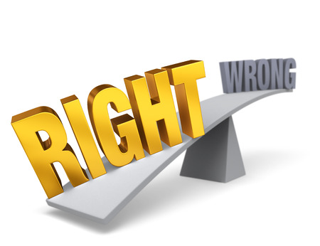 wrong: Bright, gold RIGHT weighs one end of a gray balance beam down while a gray WRONG sits high in the air on the other end. Focus is on RIGHT.  Isolated on white.