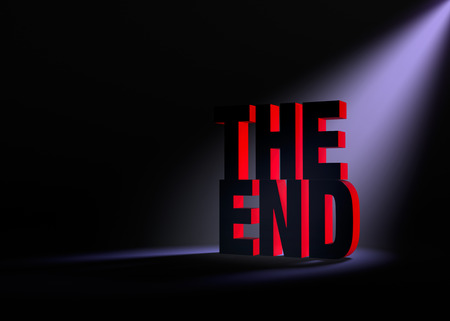 demise: Angled spotlight backlighting and revealing red \\\THE END\\\ on a dark background. Stock Photo