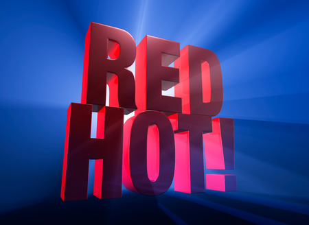 irresistible: Viewed at a dramatic angle, a bold, red RED HOT! stands on a dark blue background brilliantly backlit with light rays shining through. Stock Photo