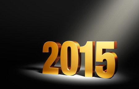 angled: Gold 2015 on dark background, brightly illuminated from upper right by angled spotlight.