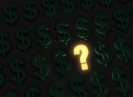 A bright, glowing yellow question stands out in a dark field of green dollar signs