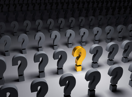 wondering: A bright, gold question mark stands out in a dark field of gray question marks