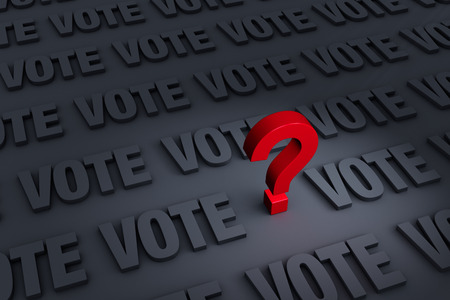 A red question mark stands out in a dark background of gray VOTEs receding into the distance