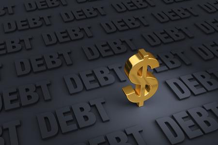 グレーの DEBT の暗い面に立っている手前の金のドル記号距離に後退し