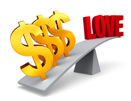 Three bright, gold dollar signs weigh one end of a gray balance beam down while a red LOVE sits high in the air on the other end. Focus is on dollar signs.  Isolated on white. photo