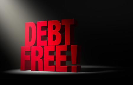 owe: Angled spotlight reveals a bold, red DEBT FREE on a dark . Stock Photo