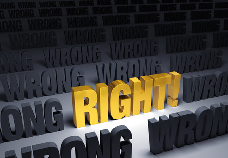 right vs wrong: A bright, gold RIGHT