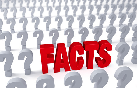 A bold, red FACTS stands out in rows of question symbols receding into the distance on a white .