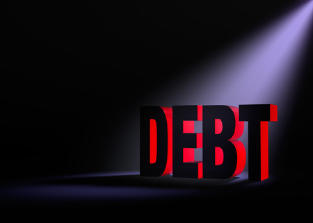indebtedness: Angled spotlight backlighting and revealing red \\\\\\\\\\\\\\\DEBT\\\\\\\\\\\\\\\ on a dark background.