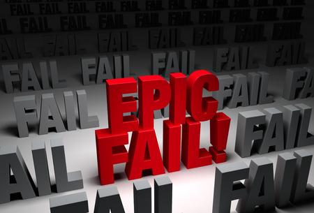 """Een gedurfde, rode """"EPIC FAIL"""" staat in een donker gebied van de grijze """"FAIL"""" s"""