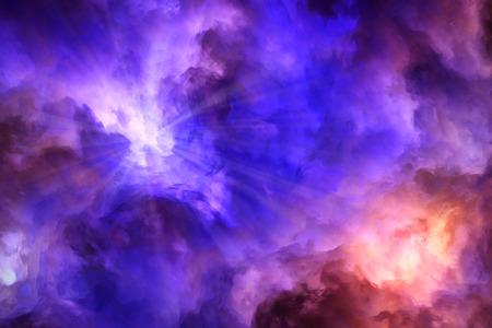 彼らは赤と黄色の雲をかく乱に対してプッシュ光線の超現実的な青、紫の嵐雲からバーストします。