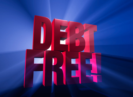 Viewed at a dramatic angle, a bold, red DEBT FREE! stands on a dark blue background brilliantly backlit with light rays shining through. Imagens